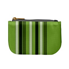 Greenery Stripes Pattern 8000 Vertical Stripe Shades Of Spring Green Color Mini Coin Purses