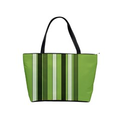 Greenery Stripes Pattern 8000 Vertical Stripe Shades Of Spring Green Color Shoulder Handbags
