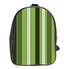 Greenery Stripes Pattern 8000 Vertical Stripe Shades Of Spring Green Color School Bags(Large)