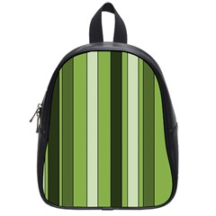 Greenery Stripes Pattern 8000 Vertical Stripe Shades Of Spring Green Color School Bags (Small)