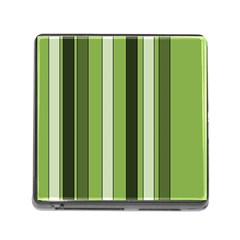 Greenery Stripes Pattern 8000 Vertical Stripe Shades Of Spring Green Color Memory Card Reader (Square)
