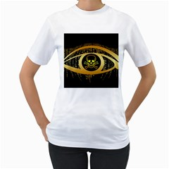 Virus Computer Encryption Trojan Women s T-Shirt (White) (Two Sided)