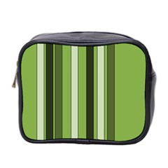 Greenery Stripes Pattern 8000 Vertical Stripe Shades Of Spring Green Color Mini Toiletries Bag 2-Side