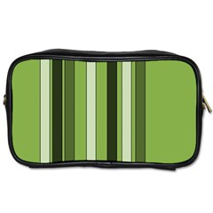 Greenery Stripes Pattern 8000 Vertical Stripe Shades Of Spring Green Color Toiletries Bags 2-Side