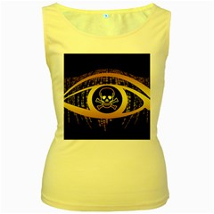 Virus Computer Encryption Trojan Women s Yellow Tank Top
