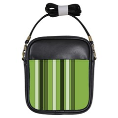 Greenery Stripes Pattern 8000 Vertical Stripe Shades Of Spring Green Color Girls Sling Bags