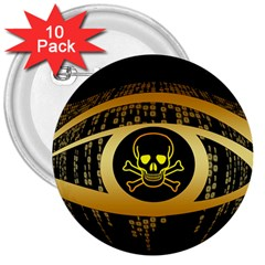 Virus Computer Encryption Trojan 3  Buttons (10 pack)