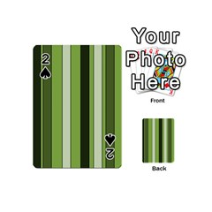 Greenery Stripes Pattern 8000 Vertical Stripe Shades Of Spring Green Color Playing Cards 54 (Mini)