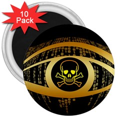 Virus Computer Encryption Trojan 3  Magnets (10 pack)