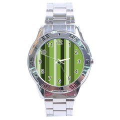 Greenery Stripes Pattern 8000 Vertical Stripe Shades Of Spring Green Color Stainless Steel Analogue Watch