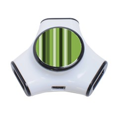 Greenery Stripes Pattern 8000 Vertical Stripe Shades Of Spring Green Color 3-Port USB Hub