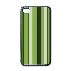 Greenery Stripes Pattern 8000 Vertical Stripe Shades Of Spring Green Color Apple iPhone 4 Case (Black)