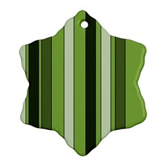 Greenery Stripes Pattern 8000 Vertical Stripe Shades Of Spring Green Color Ornament (Snowflake)