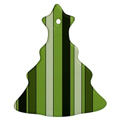 Greenery Stripes Pattern 8000 Vertical Stripe Shades Of Spring Green Color Ornament (Christmas Tree)