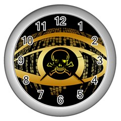 Virus Computer Encryption Trojan Wall Clocks (Silver)