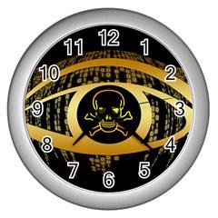 Virus Computer Encryption Trojan Wall Clocks (Silver)