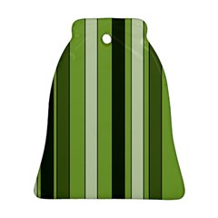 Greenery Stripes Pattern 8000 Vertical Stripe Shades Of Spring Green Color Bell Ornament (2 Sides)