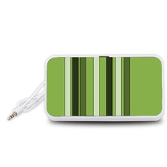 Greenery Stripes Pattern 8000 Vertical Stripe Shades Of Spring Green Color Portable Speaker (White)