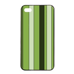 Greenery Stripes Pattern 8000 Vertical Stripe Shades Of Spring Green Color Apple iPhone 4/4s Seamless Case (Black)