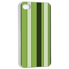 Greenery Stripes Pattern 8000 Vertical Stripe Shades Of Spring Green Color Apple iPhone 4/4s Seamless Case (White)