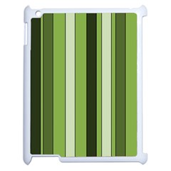 Greenery Stripes Pattern 8000 Vertical Stripe Shades Of Spring Green Color Apple iPad 2 Case (White)