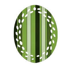 Greenery Stripes Pattern 8000 Vertical Stripe Shades Of Spring Green Color Oval Filigree Ornament (2-Side)