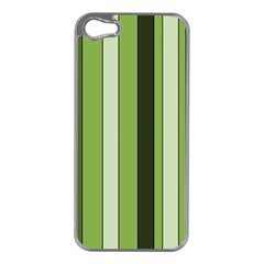 Greenery Stripes Pattern 8000 Vertical Stripe Shades Of Spring Green Color Apple iPhone 5 Case (Silver)