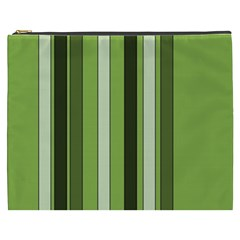 Greenery Stripes Pattern 8000 Vertical Stripe Shades Of Spring Green Color Cosmetic Bag (XXXL)