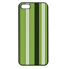 Greenery Stripes Pattern 8000 Vertical Stripe Shades Of Spring Green Color Apple iPhone 5 Seamless Case (Black)