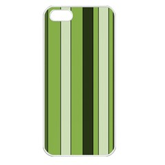 Greenery Stripes Pattern 8000 Vertical Stripe Shades Of Spring Green Color Apple iPhone 5 Seamless Case (White)