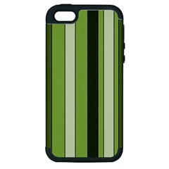 Greenery Stripes Pattern 8000 Vertical Stripe Shades Of Spring Green Color Apple iPhone 5 Hardshell Case (PC+Silicone)