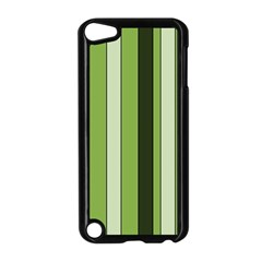 Greenery Stripes Pattern 8000 Vertical Stripe Shades Of Spring Green Color Apple iPod Touch 5 Case (Black)
