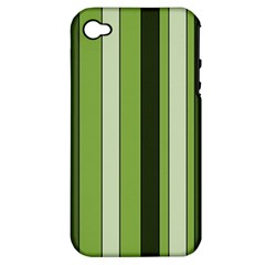 Greenery Stripes Pattern 8000 Vertical Stripe Shades Of Spring Green Color Apple iPhone 4/4S Hardshell Case (PC+Silicone)