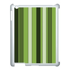 Greenery Stripes Pattern 8000 Vertical Stripe Shades Of Spring Green Color Apple iPad 3/4 Case (White)