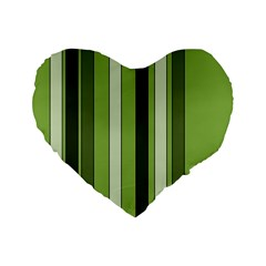 Greenery Stripes Pattern 8000 Vertical Stripe Shades Of Spring Green Color Standard 16  Premium Heart Shape Cushions