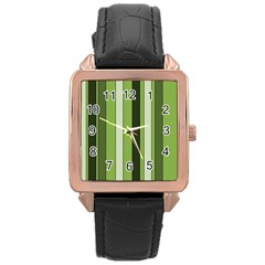 Greenery Stripes Pattern 8000 Vertical Stripe Shades Of Spring Green Color Rose Gold Leather Watch
