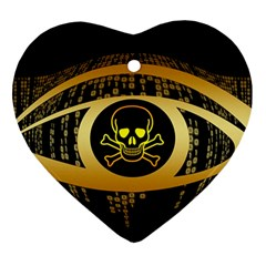 Virus Computer Encryption Trojan Heart Ornament (2 Sides)
