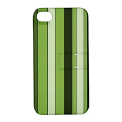 Greenery Stripes Pattern 8000 Vertical Stripe Shades Of Spring Green Color Apple iPhone 4/4S Hardshell Case with Stand