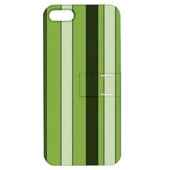 Greenery Stripes Pattern 8000 Vertical Stripe Shades Of Spring Green Color Apple iPhone 5 Hardshell Case with Stand