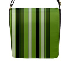 Greenery Stripes Pattern 8000 Vertical Stripe Shades Of Spring Green Color Flap Messenger Bag (L)