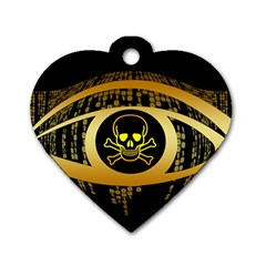 Virus Computer Encryption Trojan Dog Tag Heart (Two Sides)