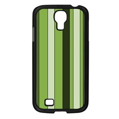 Greenery Stripes Pattern 8000 Vertical Stripe Shades Of Spring Green Color Samsung Galaxy S4 I9500/ I9505 Case (Black)