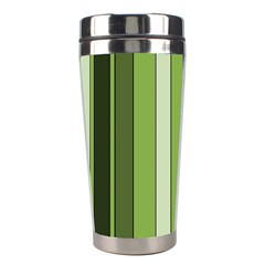 Greenery Stripes Pattern 8000 Vertical Stripe Shades Of Spring Green Color Stainless Steel Travel Tumblers