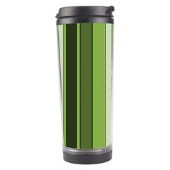 Greenery Stripes Pattern 8000 Vertical Stripe Shades Of Spring Green Color Travel Tumbler
