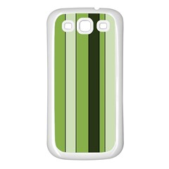 Greenery Stripes Pattern 8000 Vertical Stripe Shades Of Spring Green Color Samsung Galaxy S3 Back Case (White)