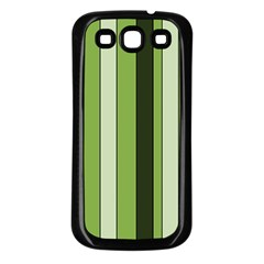 Greenery Stripes Pattern 8000 Vertical Stripe Shades Of Spring Green Color Samsung Galaxy S3 Back Case (Black)