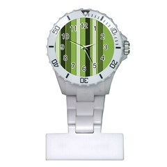Greenery Stripes Pattern 8000 Vertical Stripe Shades Of Spring Green Color Plastic Nurses Watch