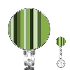 Greenery Stripes Pattern 8000 Vertical Stripe Shades Of Spring Green Color Stainless Steel Nurses Watch