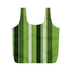 Greenery Stripes Pattern 8000 Vertical Stripe Shades Of Spring Green Color Full Print Recycle Bags (M)