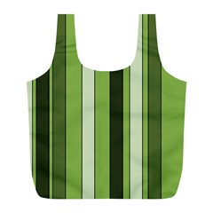 Greenery Stripes Pattern 8000 Vertical Stripe Shades Of Spring Green Color Full Print Recycle Bags (L)